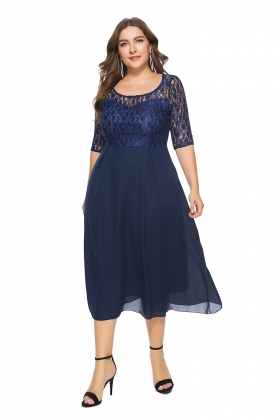 Plus Size Lace Upper Mature Dress with 3/4 Sleeves