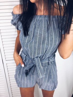 Off Shoulder Stripped Casual Rompers