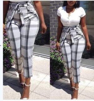 White and Black Check Trouser
