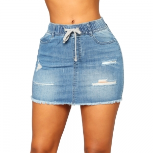 Washing Out Ripped Denim Mini Skirt