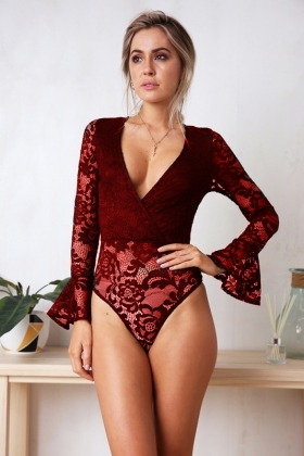 High Cut V-Neck Lace Bodysuit with Sleeves