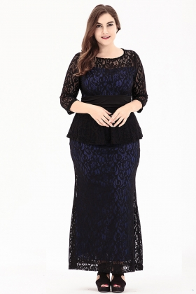 Plus Size O-Neck Long Puplum Lace Dress