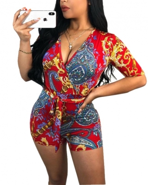 Print Retro Wrap Rompers with Short Sleeves