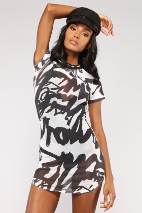 White and Black Print Short Bodycon Dress