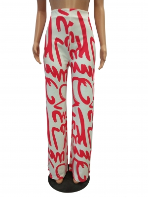 White and Red Print Trousers