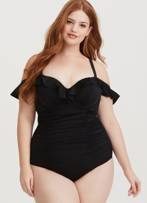 Plus Size Straps One-Piece Ruffle Swimsuit