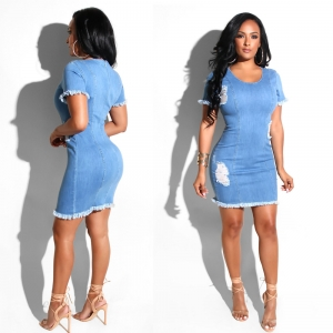 Blue Denim Bodycon Dress with Plush Trim