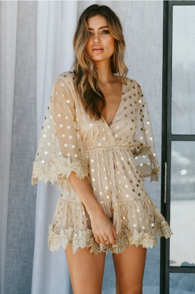 V-Neck Sequins Rompers with Wide Legges and Cuffs