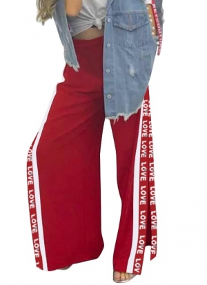 Red Side Split Loose Trousers