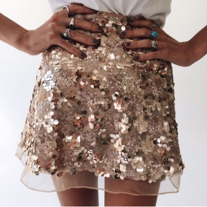 Sequins Gold A-line Mini Skirt