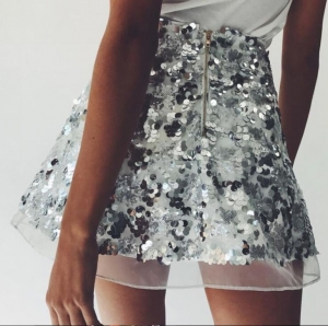 Sequins Silver A-line Mini Skirt