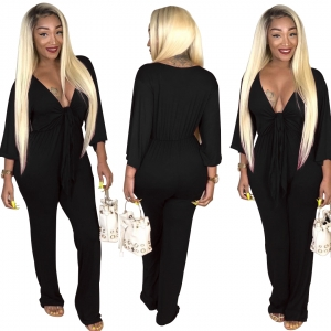 Deep-V Sexy Plain Jumpsuit with Sleeves