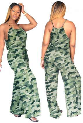 Green Camou Straps Loose Jumpsuit