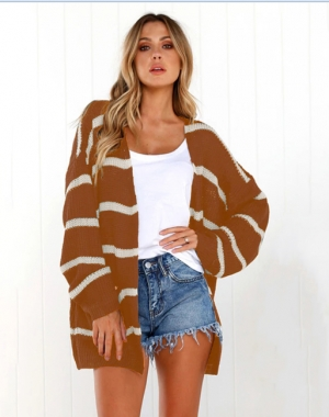 Long Sleeve Strippes Sweater Coat