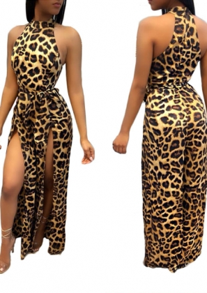 High Cut Sexy Leopard Jumpsuit