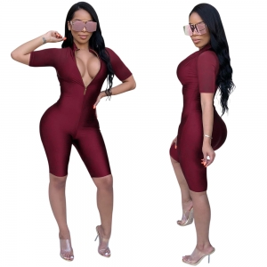 Red Tight Sports Mid-length Jumpsuit