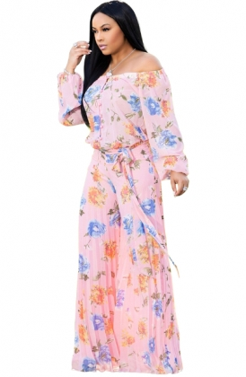 Loose-fitting Floral Jumpsuit with Off Shoulder