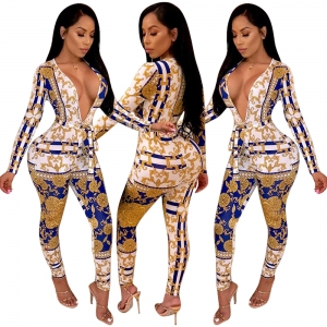 Vintage Print Deep-V Sexy Tight Jumpsuit