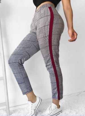 Casual Checks Trousers with Contrast Band