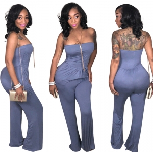 Sexy Strapless Plain Jumpsuit
