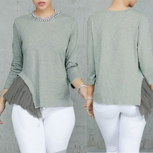 Long Sleeve Plain Shirt with Detailed Hem