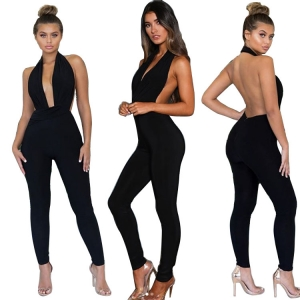Sexy Black Backless Halter Jumpsuit