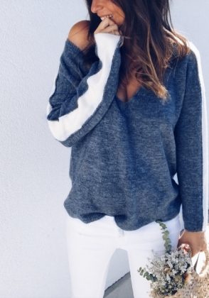 V-Neck Shirt with Contrast Sleeves