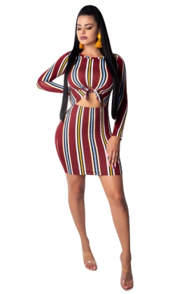 Sexy Strippes Colorful Bodycon Dress