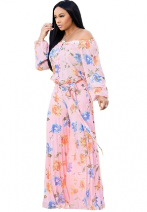 Off Shoulder Loose-fitting Floral Jumpsuit
