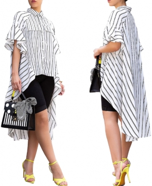White and Black Strippes High Low Blouse