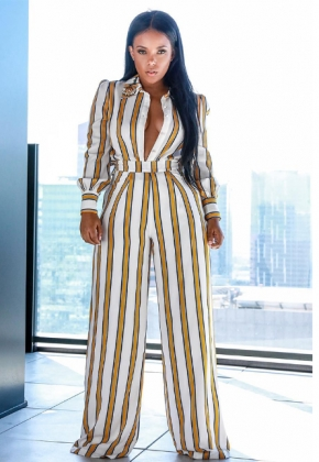 Long Sleeve Strippes Jumpsuit with Wide Legges