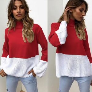 Block Color Loose Sweater with Stand Neck