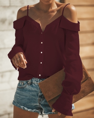 Long Sleeve Straps Blouse