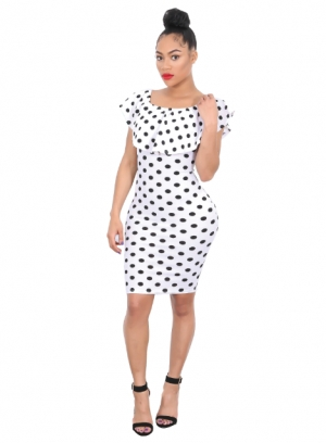 Off Shoulder Polka Bodycon Dress