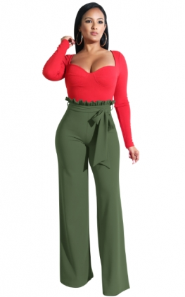 High Waist Wide Legges Trousers with Belt