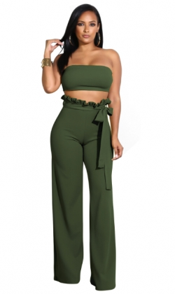 Plain Color Bandeau Top and Wide Pants