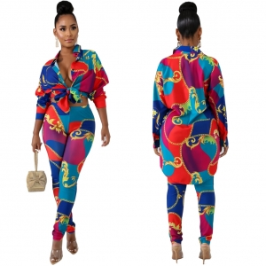 African Contrast Print Long Shirt and Pants Suit