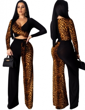 Sexy Leopard Cross Top and Pants Set