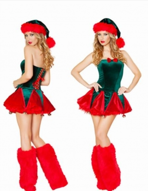 Women Red and Green Christmas Costume
