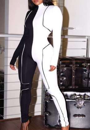 Sports Fitness Contrast Long Sleeve Jumpsuit