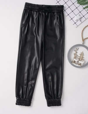 Kids Girl Leather Pants