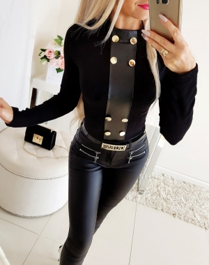 Leather Black Patchwork Autumn Top