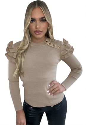 Solid Color Ruffles Basic Shirt with Sleeves