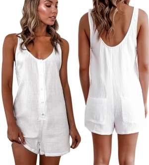 White Button Up Sleeveless Casual Rompers