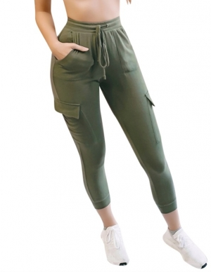 Casual High Waist Drawstrings Trousers with Side Pockets