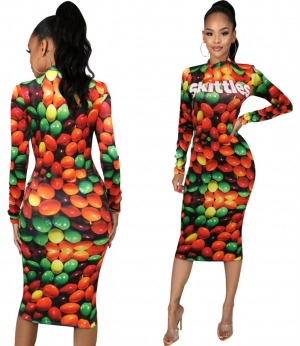 Autumn Snack Print Midi Dress with Full Sleeves