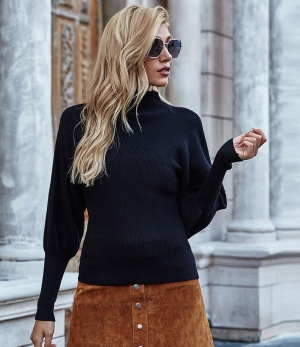 Autumn Solid Plain Puff Sleeve Turtleneck Pullover Sweater
