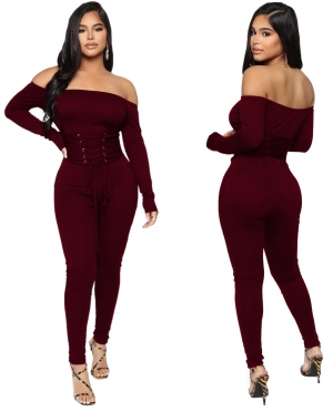 Autumn Party Solid Plain Lace Up Sexy Strapless Jumpsuit