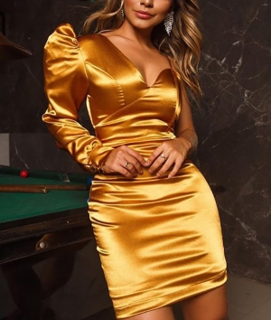 Autumn Party Formal One Shoulder Satin Mini Dress